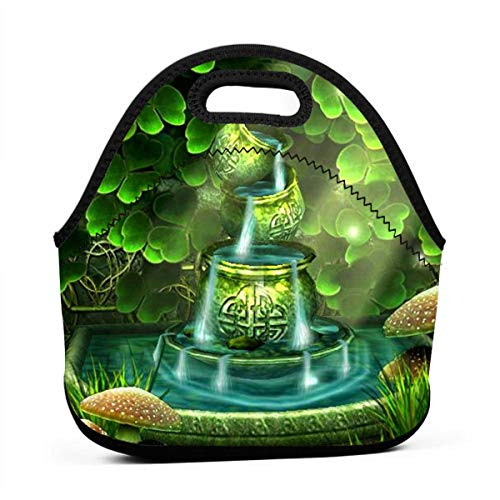 Uuiuou Green Clover Portable Outdoor Bento Large Hand Lunch Bag Baby Bag Satchel Tote Gift for Student Worker Travel Mummy (Satchel Clover)