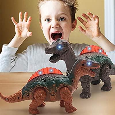 Dinosaur Toy , Elevin(TM)???????? 3 Years Old and Above Dinosaur Toys for Boys and Girls Light Dinosaur Electronic Walking Robot Roaring Interactive Dinosaur Toy (Gray): Toys & Games