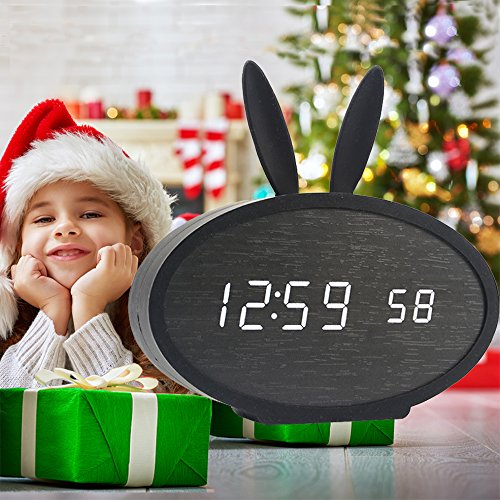 Rabbit Clock (Wooden LED Alarm Clock, Huatop Sound Control Digital Desk Clock Display Time, Date, Temperature, with Rabbit Soft Silicon Cover for Children,Teens (Black/Black))