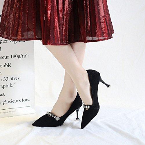 Nachtclub Strap Sexy Hohen cy Für Court Mädchen Schuhe Scrub Metal Stiletto Mit Flacher Suede Heels Bankett Kätzchen Pumps Damen Absätzen Damen Mund 8qIrAqZw1