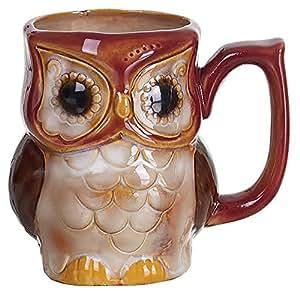 Burnt Red Woodland Owl 12 ounce Ceramic Fall Harvest Coffee Mug