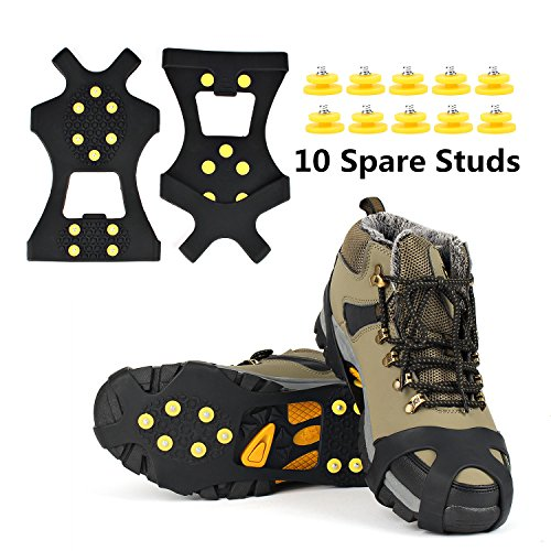 Ice Grips, EONPOW Ice & Snow Grips Cleat Over Shoe/Boot Traction Cleat Rubber Spikes Anti Slip 10 Steel Studs Crampons Slip-on Stretch Footwear (Size L)Extra10 Studs Included