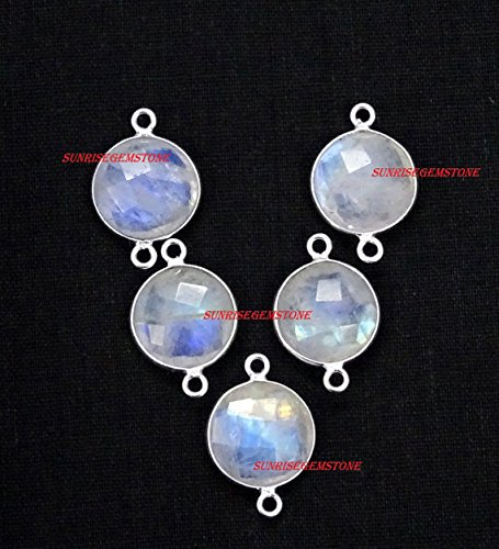 Vermeil Bezel (Natural Rainbow Moonstone Faceted Round 14 mm Double Bail Gemstone 925 Silver Plated Vermeil Bezel Connector 5 Pcs.)