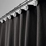 mDesign Hotel Quality Polyester/Cotton Blend Fabric Shower Curtain with Waffle Weave and Rustproof Metal Grommets for...