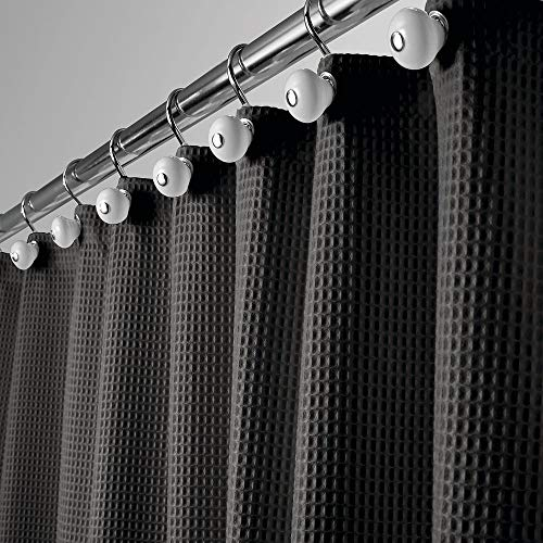 mDesign Long Polyester/Cotton Blend Fabric Shower Curtain with Waffle Weave and Rustproof Metal Grommets for Bathroom Showers and Bathtubs, 72 x 84 - Black