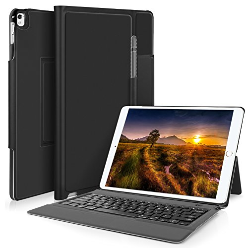 IVSO Apple ipad pro 12.9 Case With Keyboard Ultra-Thin One-piece Wireless Keyboard Stand Case/Cover + Pencil Holder for ipad pro 12.9'' 1st Gen 2015/ipad pro 12.9'' 2nd Gen 2017 Tablet(Black) by IVSO (Image #1)