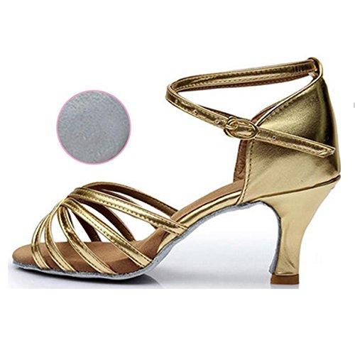 Zapatillas de Baile Latino Zapatos de Baile de Tacón Alto Adultos Adultos 7,5 cm Zapatos de Baile de Fondo Suave Zapatos de Baile Cuadrados C