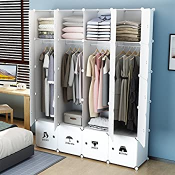 kousi portable wardrobe closet for bedroom clothes armoire dresser cube storage. Black Bedroom Furniture Sets. Home Design Ideas