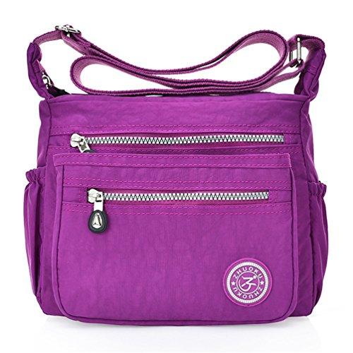 Pupre Shoulder Multi Body Casual Dark Cross Fueerton Pocket Womens Nylon Bags Messenger Bag w7FZSqxp