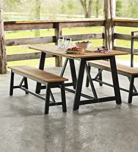 Outdoor Eucalyptus Dining Set, Kilmarnock Collection, in Black