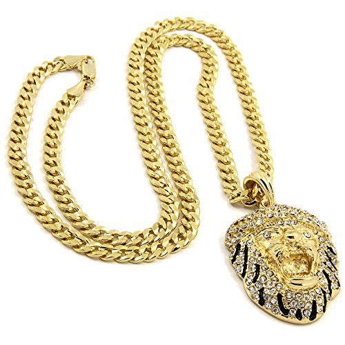 Mens Gold Plated Hip-Hop Iced Tiger Face Pendant 5mm 24