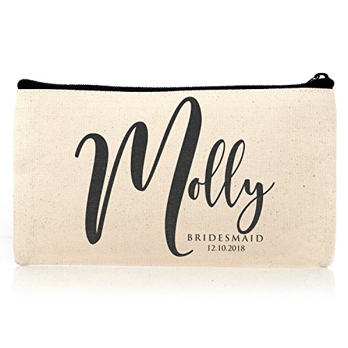Personalized Cosmetic Bag Travel Makeup Pouch Wedding Bridal Party   DSG#18   set of 3 by Sugar Yeti