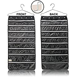 Hanging Jewelry Organizer 44 Zipper Pockets, Hanger & Door Hanging Hook! stores Jewelry, Accessories, Cosmetics, Makeup & Toiletries. Durable Double Sided Storage Saves Space