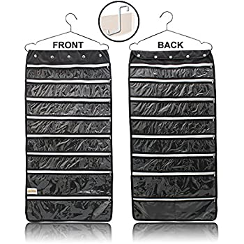 Amazoncom Hanging Jewelry Organizer 44 Zipper Pockets Hanger