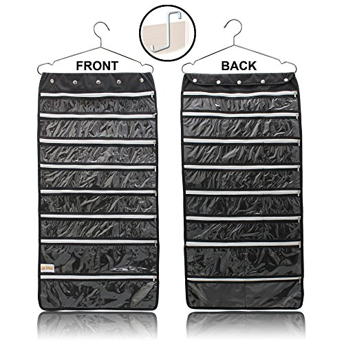 Premium Hanging Jewelry Organizer 44 Secure Zipper Pockets - Hanger & Door Hanging Hook - Stores Jewelry, Accessories, Cosmetics, Makeup & Toiletries - Durable Two Sided Foldable Storage - Saves Space from Alpha Homeware
