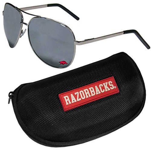NCAA Arkansas Razorbacks Aviator Sunglasses & Zippered Carrying Case