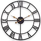 Decor Wall Clock, European Retro Clock with Large Roman Numerals, Indoor Silent Battery Operated Metal Clock for Home, Living Room, Kitchen and Den - 18 Inch, Classical Black