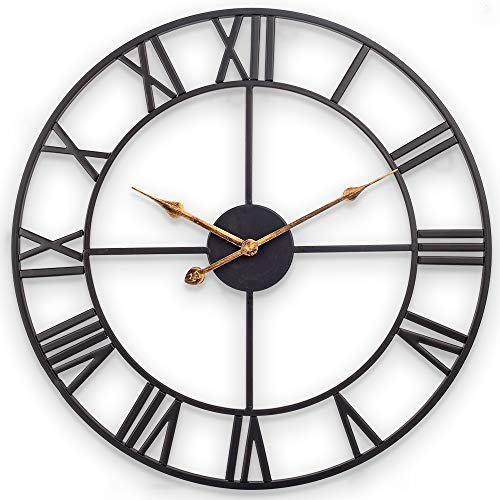 Clock Vintage Retro American - Decor Wall Clock, European Retro Clock with Large Roman Numerals, Indoor Silent Battery Operated Metal Clock for Home, Living Room, Kitchen and Den - 18 Inch, Classical Black