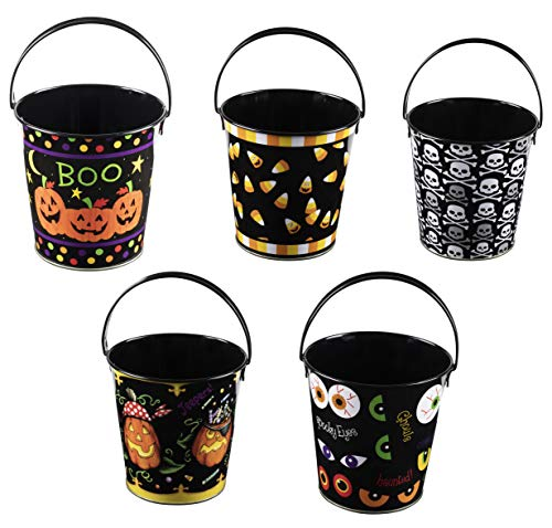 Mini Metal Halloween Buckets - 5-Pack Colored Tin Pails with Handles, Assorted Spooky Designs with Pumpkin, Skull, Scary Eyes, Small-Sized for Trick or Treat, Party Favors, and Candy, Black ()