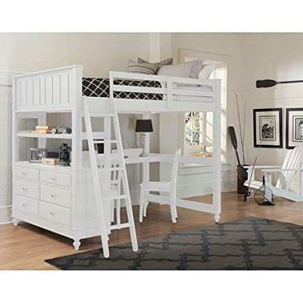 Amazon.com: NE Kids Lake House Full Loft Bed with Desk in White ...