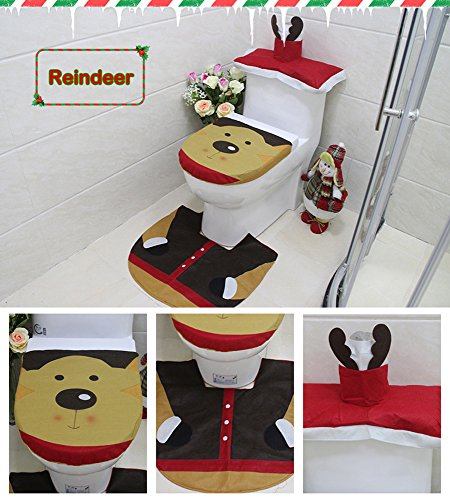 Cute Reindeer Christmas Themed Comfy Felt Made Toilet Seat Lid Cover,Tank Cover & Rug Set for Holiday Decoration, Reindeer Design