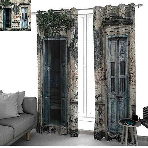 bybyhome Rustic Decor Curtains for Sliding Glass Door Doors of an Old Rock House with French Frame Details in Countryside European Past Theme Window Curtain 2 Panel Teal and Grey W120 x L108 Inch ()