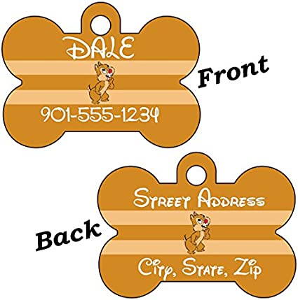 uDesignUSA Disney Chip and Dale Double Sided Pet Id Tag for Dogs /& Cats Personalized with 4 Lines of Text