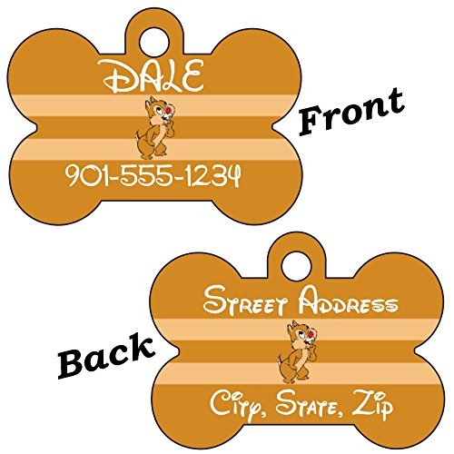 Disney Chip and Dale Double Sided Pet Id Tag for Dogs & Cats Personalized with 4 Lines of Text (Dale) by uDesignUSA