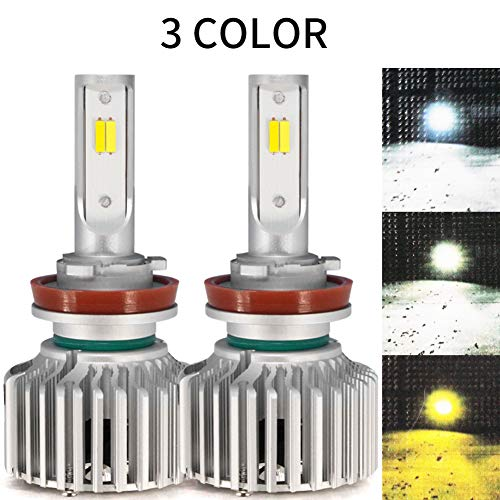 H11 H8 H9 H16 LED Headlight Bulb Conversion Kit 3 Colors Pure White Warm White Yellow Single Beam 12000Lm Extremely Bright 360 Degree(Pack of ()