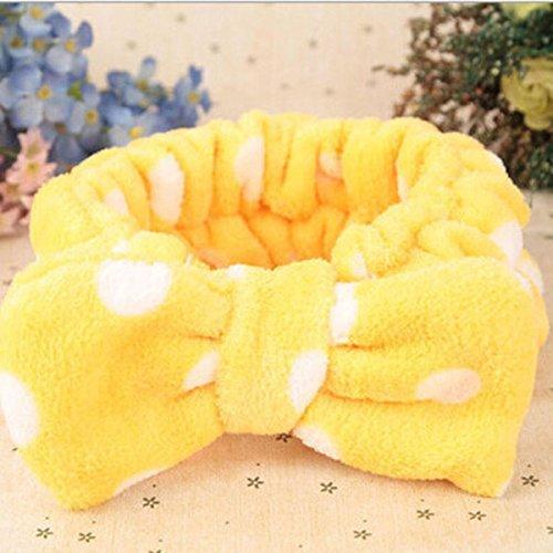 Meyfdsyf trucco in pile corallo donna fiocco fascia per capelli (giallo)