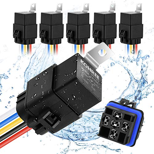 Kohree 40/30 Amp Automotive Relay Harness, 5-Pin SPDT Bosch Relay 12V 30Amp Waterproof with 16 AWG 14 AWG Harness Wires Kit, 5 Pack