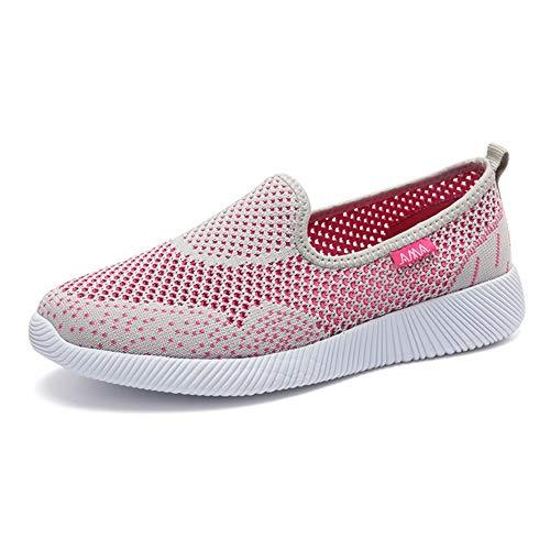 Classic Pink Mujer Slip Malla Zapatos Zapatillas Ligeras Respirable Deportes Sneaker Plataforma Casual Gris