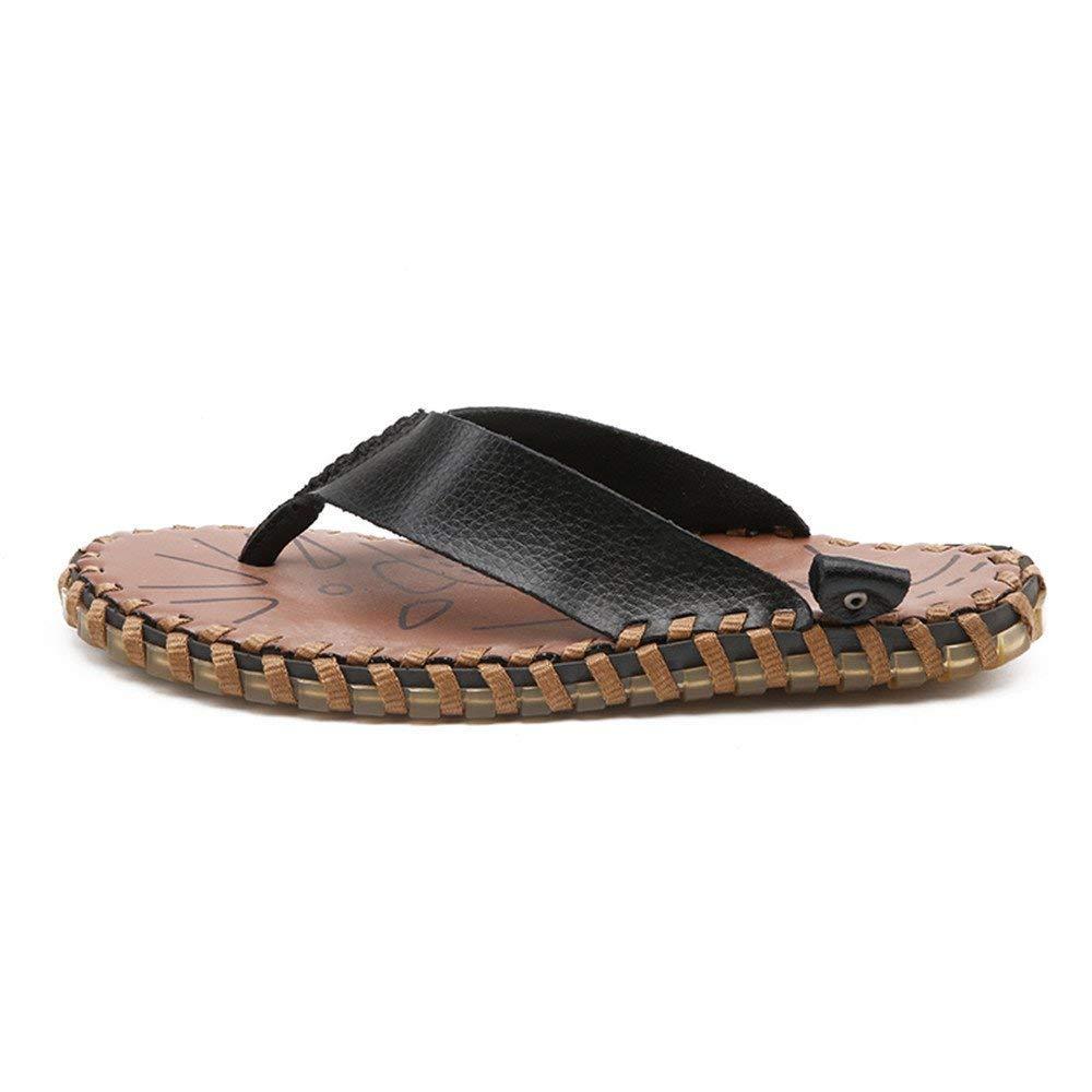 FuweiEncore 2018 Sandalen Männer Flip-Flops Schuhe aus echtem echtem echtem Leder Strand Thong Hausschuhe Casual Rutschfeste weiche Flache Sandalen (Farbe   schwarz, Größe   44 EU) (Farbe   Schwarz, Größe   44 EU) 9cf5f6