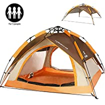 ZOMAKE Automatic Camping Tent 2 3 Person - Protable Dome Quick Up Tent (Brown)