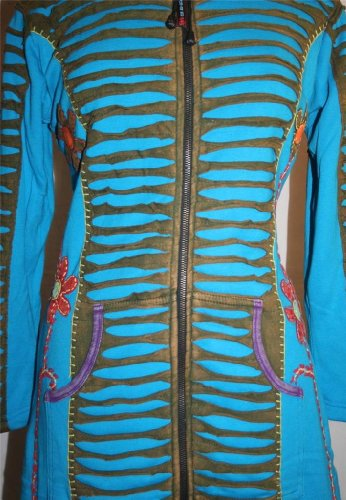 323 RJ Patch Funky Cotton Bohemian Long Jacket [Turquoise; S/M] by Agan Traders (Image #2)