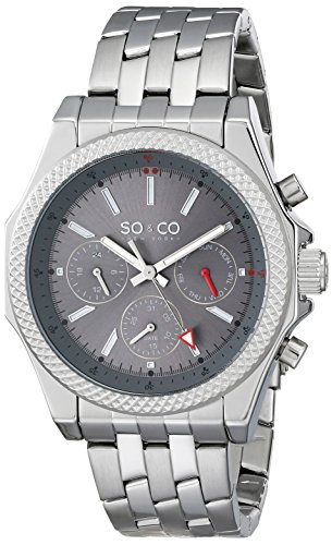 SO&CO New York Men's 5003.2 Monticello Quartz Chronograph Day and Date Grey Dial Stainless Steel Link Bracelet Watch