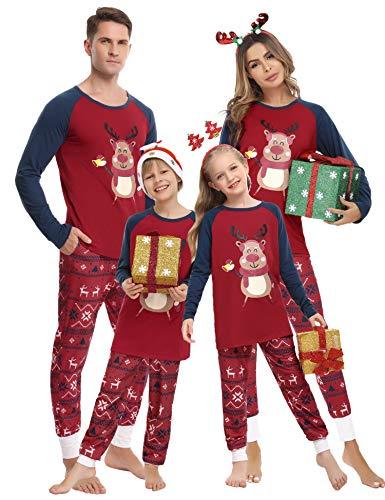 Hawiton Pijamas de Navidad Familia Conjunto de Pijamas de Hombre Mujer Niño Niña