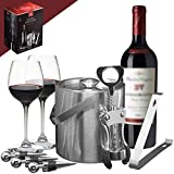 Cheap Sorbus Ice Bucket Wine Set — Deluxe 6 Piece Includes: Stainless Steel Double Walled Ice Bucket with Lid, Ice Tong, Bottle Opener, 3 Bottle Stoppers, For Any Occasion Great Holiday Gift