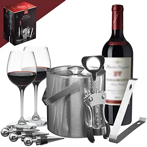 Sorbus Ice Bucket Wine Set - Deluxe 6 Piece Includes: Stainless Steel Double Walled Ice Bucket with Lid, Ice Tong, Bottle Opener, 3 Bottle Stoppers, For Any Occasion Great Holiday Gift