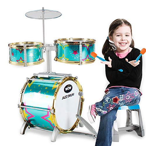 (MG.QING 3-Piece Drum Set Children's Instruments Musical Toys Green with Drum Sticks and Stools)