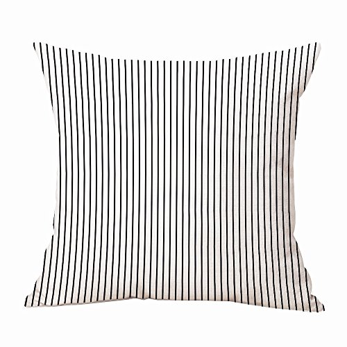 CHICCAT Ticking Stripe Pillow Cover French Ticking Pillow Cotton Linen Square Decorative Throw Pillow Case Cushion Cover 1818inch 4545cm (Ticking Stripe (French Stripe Pillow)