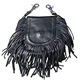 "Hot Leathers, LADIES LEATHER CLIP POUCH PURSE with Fringe, Adjustable Strap - 8"" x 7"" x 3"""