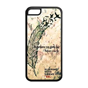 Snap-on TPU Rubber Coated Case Cover for iPhone 5C [SWS Sleeping with Sirens]