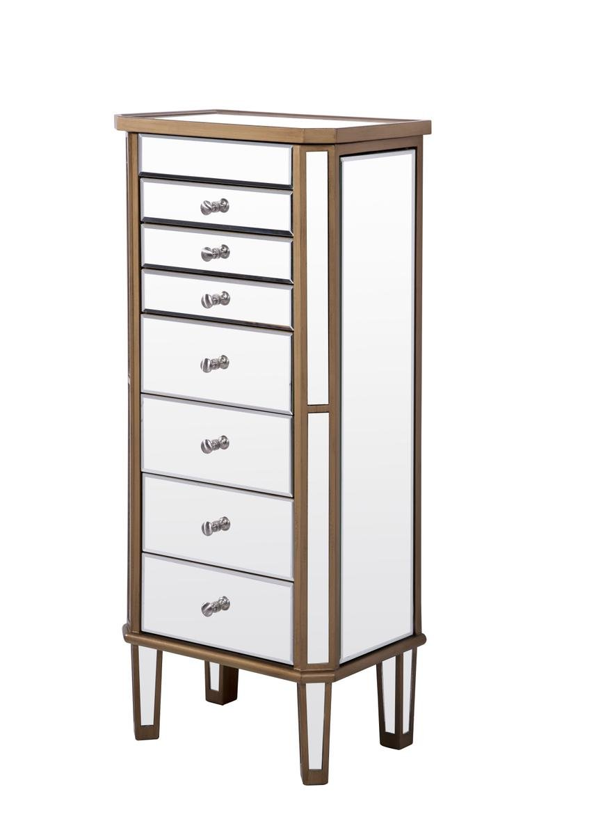 Decor Central ADMFX6-3309GC 7 Drawers 2 Doors Jewelry Armoire, 18'', Hand Rubbed Antique Gold Finish