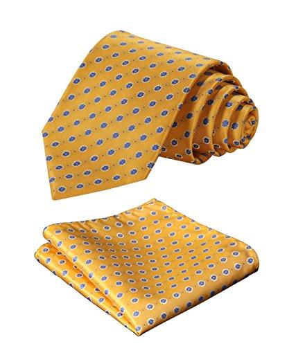 HISDERN Extra Long Floral Dots Tie Handkerchief Men's Necktie & Pocket Square Set (Yellow & Blue)