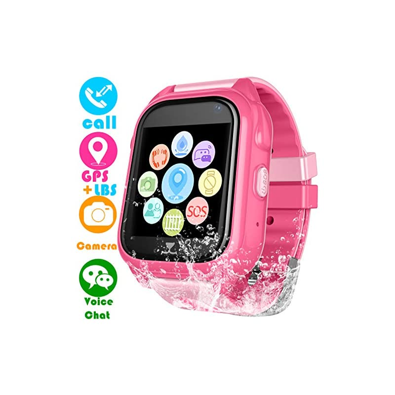 Kids Waterproof Smartwatch with GPS Tracker - Boys & Girls IP67 Waterproof Smart Watch Phone with Camera Games Sports Watches Back to School Supplies Grade Student Gifts (02 S8 Pink GPS+WP Watch)