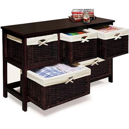 badger basket wooden storage cabinet with wicker baskets espresso ondertitels. Black Bedroom Furniture Sets. Home Design Ideas