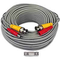 100 Feet BNC Video Power Cables, AimHD In-wall Fire-rated Upgraded 24AWG Home Security Camera Extension Siamese Cords Pre-made BNC DC Connectors for CCTV 720p 1080p Surveillance System-Dark Grey