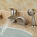 wall mount waterfall tub faucet brushed nickel Ohcde Dheark Brushed Nickel Waterfall Roman Bathtub Mixer Faucet Set With Hand Held Shower Deck Mount 3Pcs Tub Mixer Taps