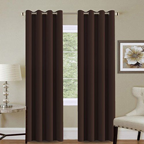 Chocolate Window - H.VERSAILTEX Premium Blackout Window Curtain Panels for Living Room/Bedroom,Thermal Insulated Drapes-52 W by 84